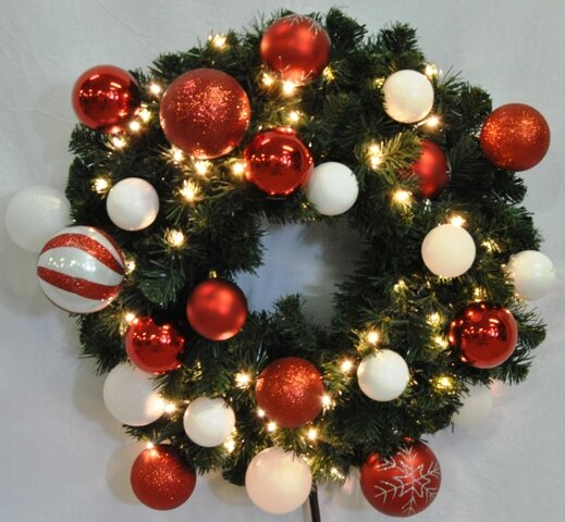 Pre-Lit Blended Pine Wreath Decorated with Candy Ornament by Queens of Christmas