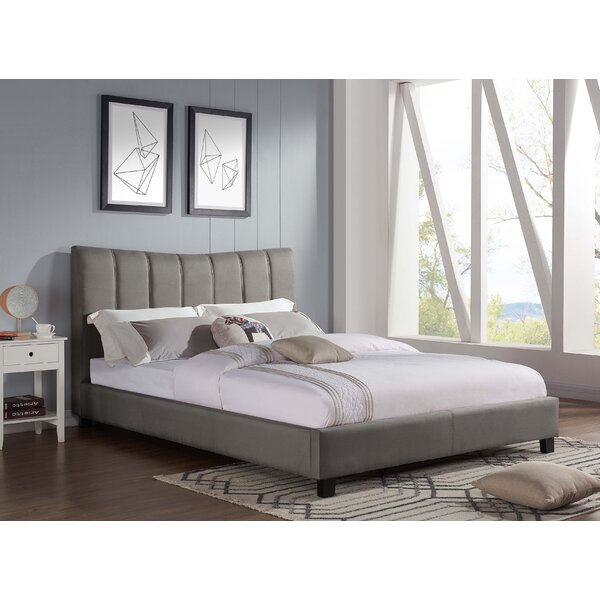 Modern  Emilio Pebble Channel Upholstered Platform Bed By Ivy Bronx Savings