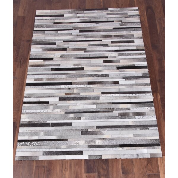 Council Hand-Woven Cowhide Gray/Black Area Rug by Latitude Run