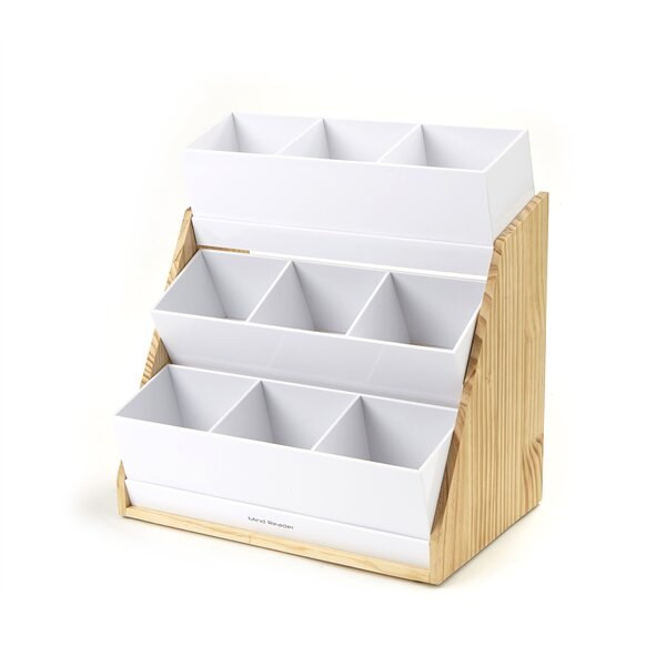 9 Compartment Condiment Organizer with Acrylic Drawers and Wood Base by Mind Reader