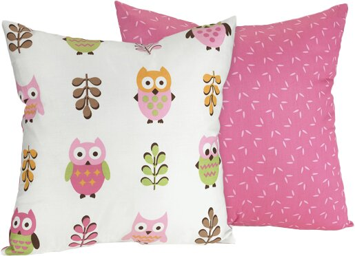 Happy Owl Cotton Throw Pillow by Sweet Jojo Designs