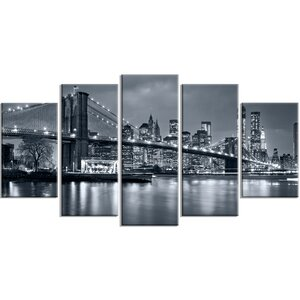 'Panorama New York City at Night' 5 Piece Wall Art on Wrapped Canvas Set by Design Art