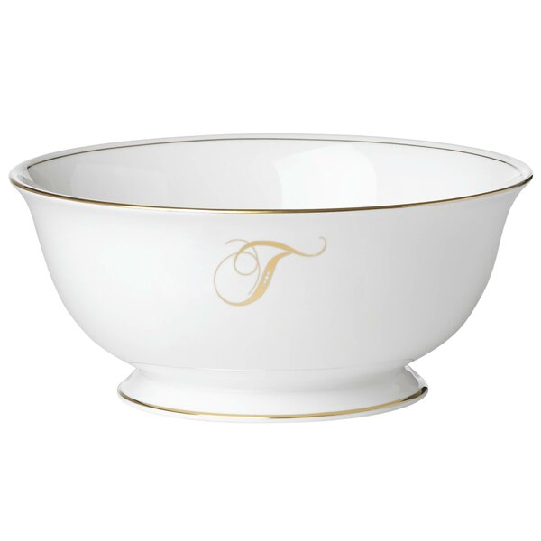 Federal Gold Monogram Script Serving Bowl by Lenox