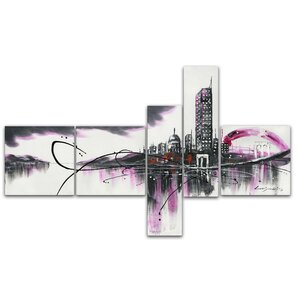 Modern Purple Cityscape 5 Piece Painting Print on Wrapped Canvas Set by Design Art
