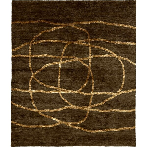 One-of-a-Kind Alderete Hand-Knotted Tibetan Brown 10' Square Wool Area Rug