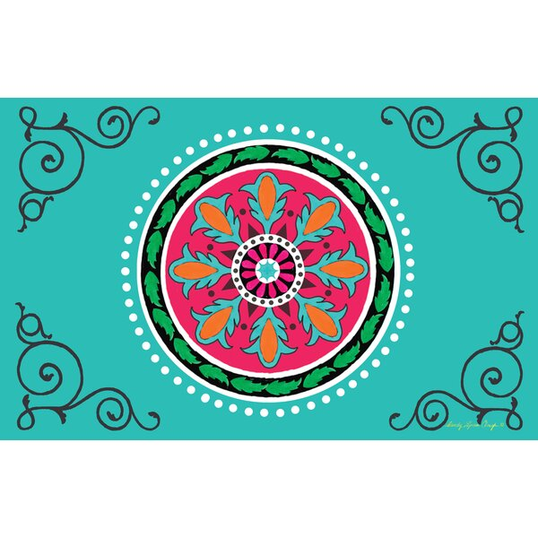 Boho Medallion Square Turquoise Area Rug by Manual Woodworkers & Weavers