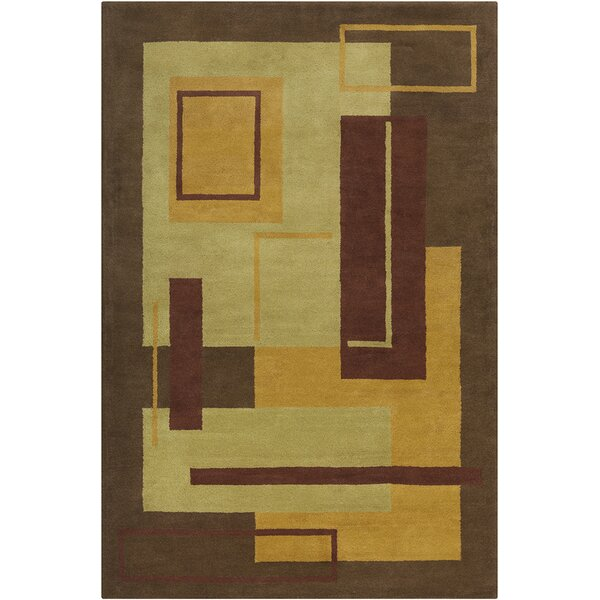 Willa Hand Tufted Wool Brown/Green Area Rug by Corrigan Studio