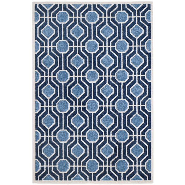 Furey Light Blue/Navy Blue/White Area Rug by George Oliver