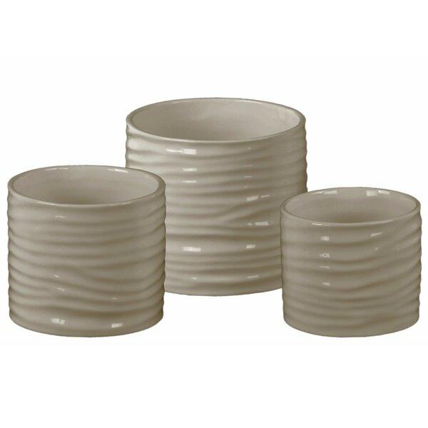 Dario Low Cylindrical 3-Piece Ceramic Pot Planter Set by Orren Ellis
