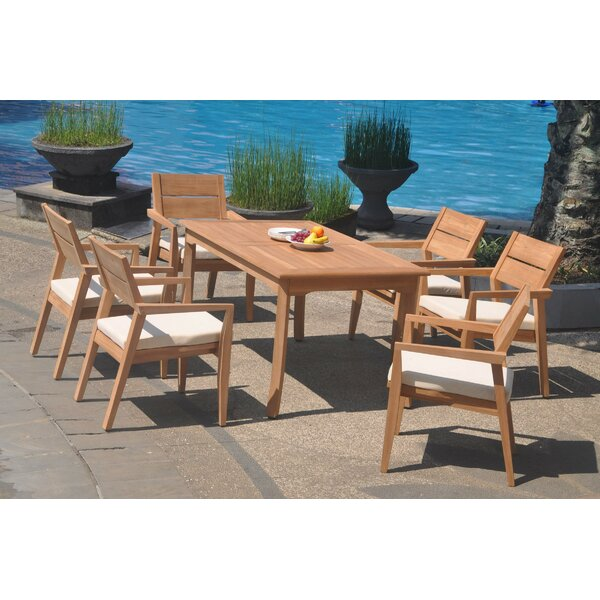 Russia 7 Piece Teak Dining Set by Rosecliff Heights