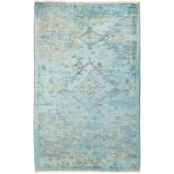 One-of-a-Kind Pritt Hand Knotted Wool Blue Area Rug by One Allium Way