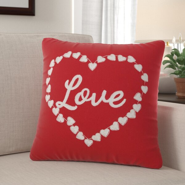 Leboeuf Love and Heart Cotton Throw Pillow by The Holiday Aisle