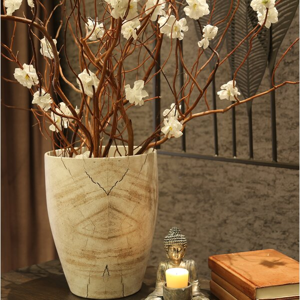 Linsey Ceramic Wood Look Table Vase by Union Rustic