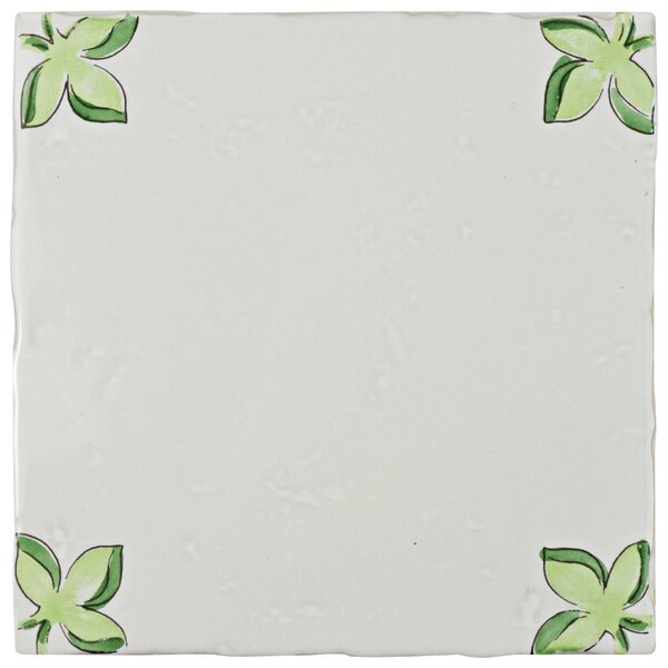 Frisia Nove Paterna 5.13 x 5.13 Ceramic Decorative Accent Tile in Green/Orange (Set of 3) by EliteTile