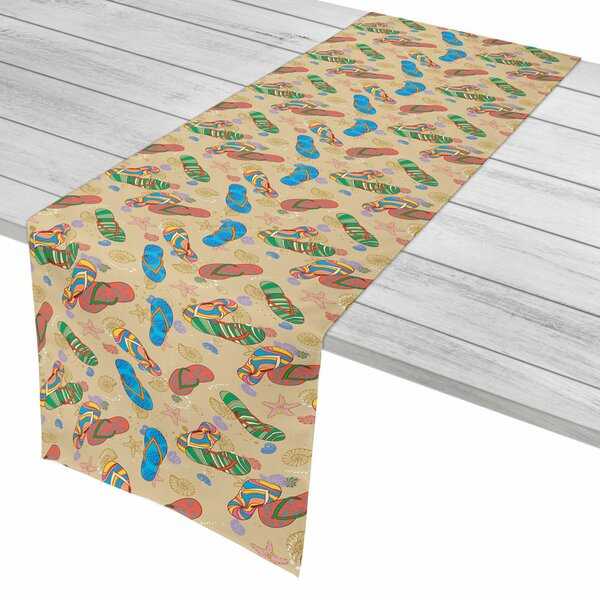 Coastal Beach Flip Flops Table Runner by Island Girl Home