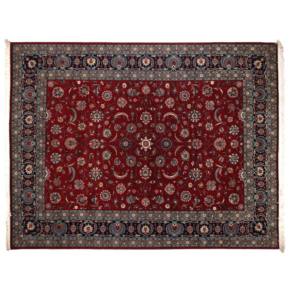 One-of-a-Kind Fine Kashan Hand-Woven Wool Red/Navy Area Rug by Exquisite Rugs