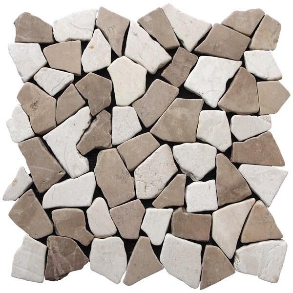 Fit Random Sized Natural Stone Pebble Tile in Tan White Blend by Pebble Tile