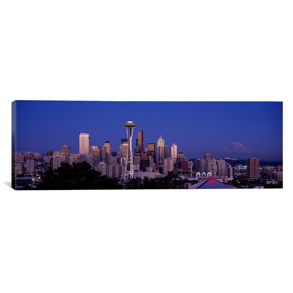 Panoramic Skyscrapers in a City, Seattle, Washington State Photographic Print on Canvas by iCanvas