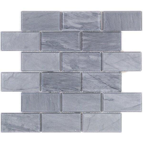 2 x 4 Beveled Marble Mosaic Tile in Dark Gray by Splashback Tile