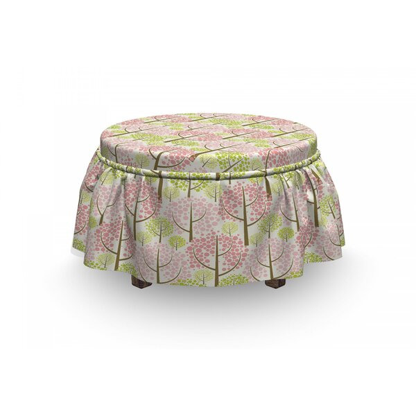 Tree Eastern Blooms 2 Piece Box Cushion Ottoman Slipcover Set By East Urban Home