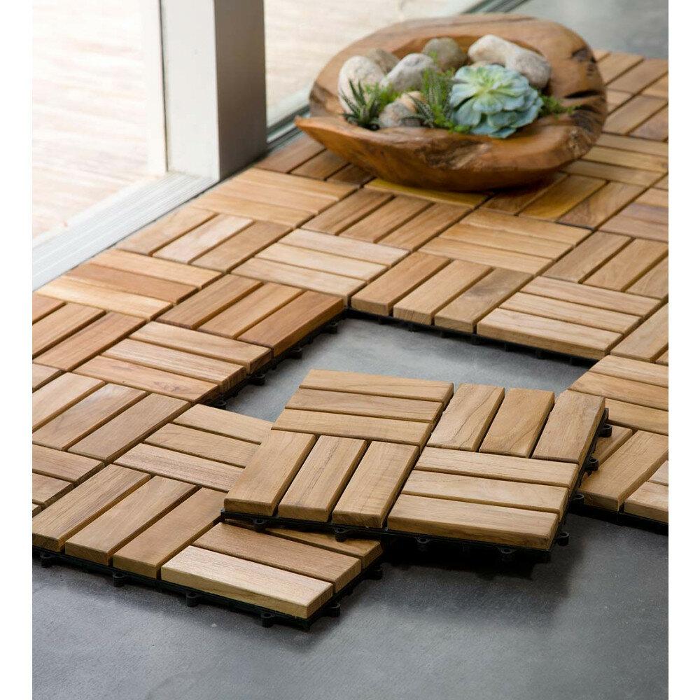 Customized X Teak Wood Look Tile In Brown AllModern - Teak patio flooring 12x12