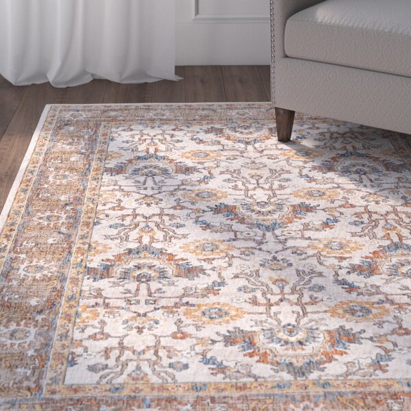Matteson Traditional Ivory/Blue Area Rug by Three Posts
