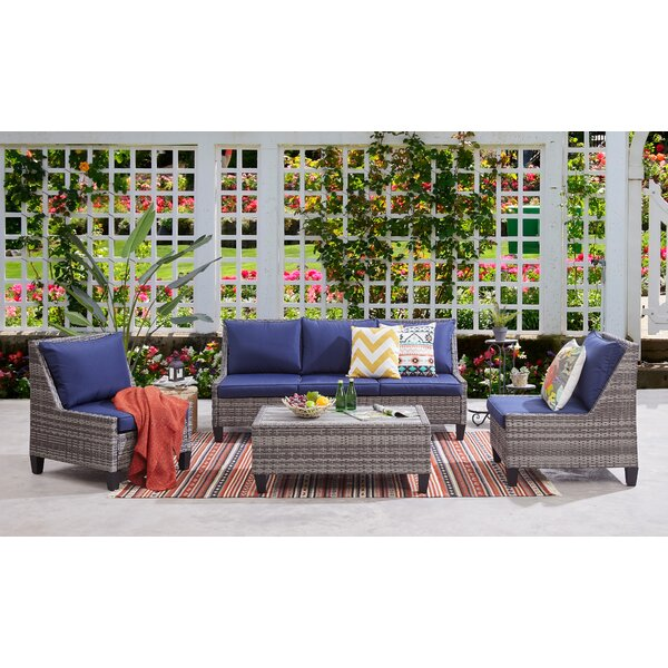 Khaleesi Deep 4 Piece Seating Group with Cushions by Longshore Tides