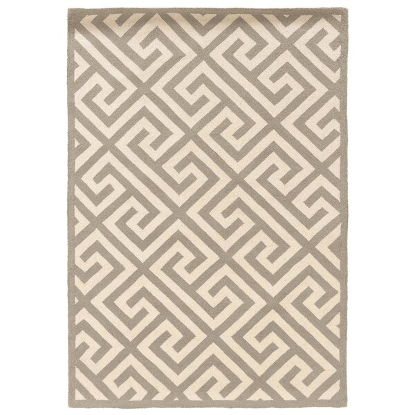 Hand-Hooked Gray/Ivory Area Rug by The Conestoga Trading Co.