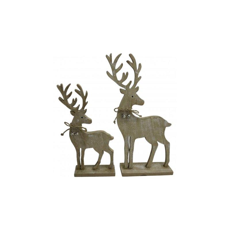 2-Piece Wooden Reindeer Set