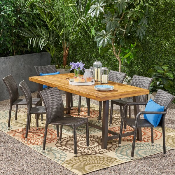 Parlington Outdoor Wood and Wicker 9 Piece Dining Set by Ivy Bronx