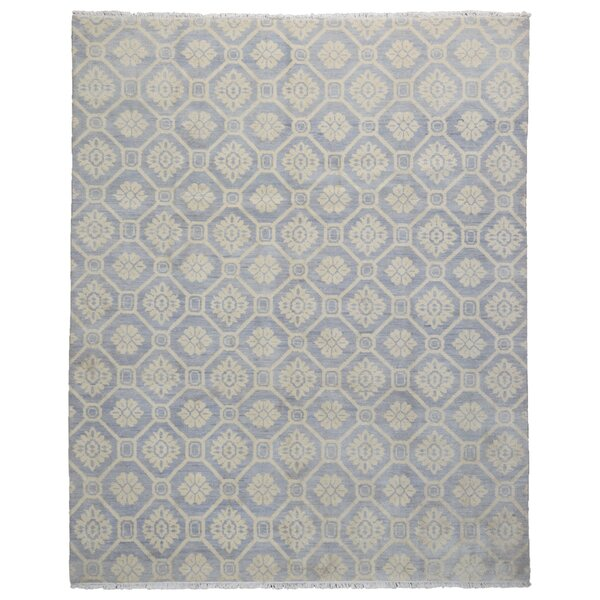 One-of-a-Kind Keels Turkish Knot Hand-Knotted Wool Blue/Beige Area Rug by Darby Home Co