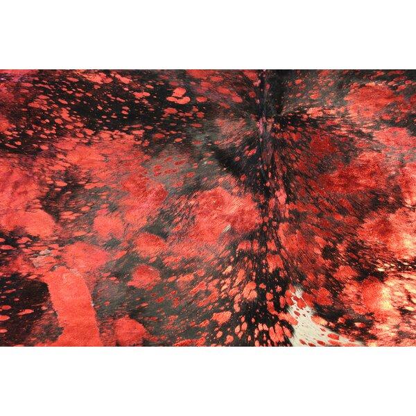 Winterbourne Down Handmade Cowhide Red Area Rug by Bloomsbury Market