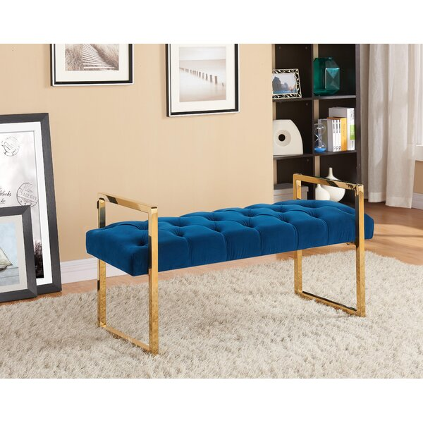 Celis Button-Tufted Metal Bench by Mercer41