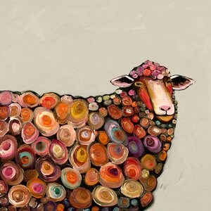 'Lamb' by Eli Halpin Print of Painting on Canvas in Cream by GreenBox Art