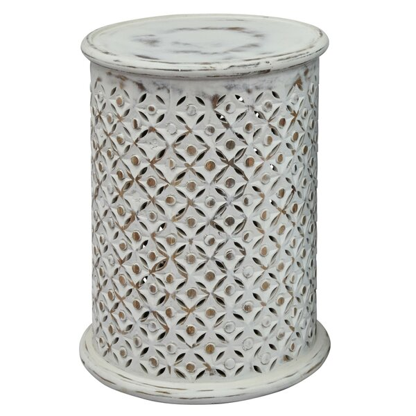 Patson Wooden Intricate Filigree Cutout Pattern Drum End Table by Ophelia & Co.