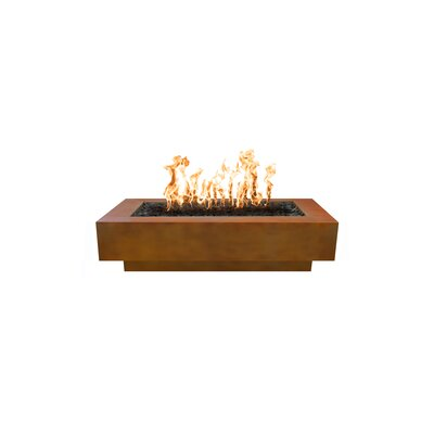 """The Outdoor Plus Coronado Electronic Ignition Concrete Fire Pit  Size: 15"""" H x 28"""" W x 72"""" D, Fuel Type: Natural Gas, Finish: Corten Steel"""
