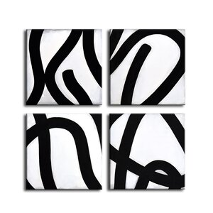 'Curves IV' by Norman Wyatt Jr. 4 Piece Graphic Art on Canvas Set by Ready2hangart
