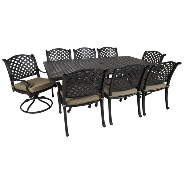 Gadson Castle Rock 9 Piece Dining Set with Cushions by Red Barrel Studio