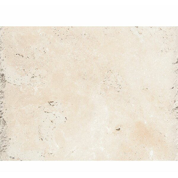 Classic 24 x 16 Travertine Field Tile in Ivory Chiseled Brushed by Parvatile