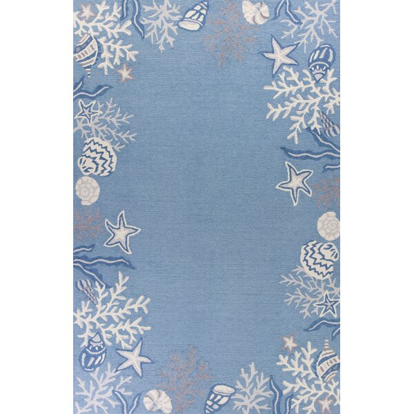 Haverford Hand-Hooked Sea Blue Area Rug by Beachcrest Home