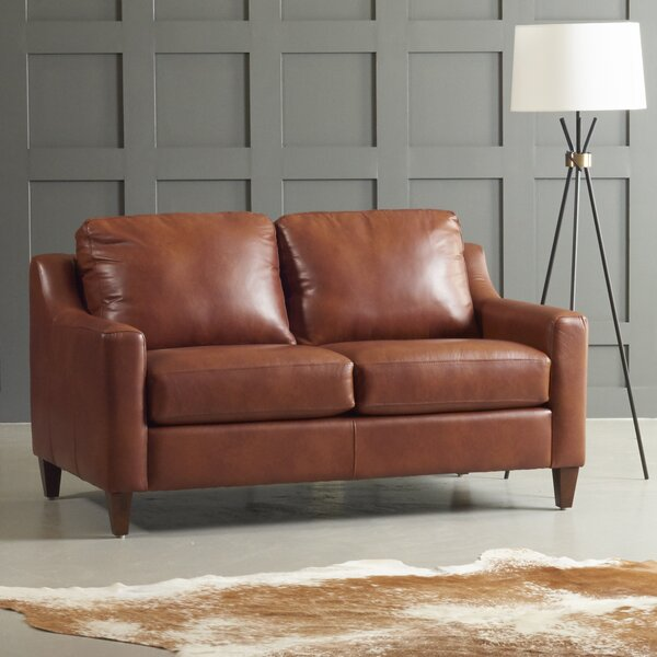 Jesper Leather Loveseat by DwellStudio