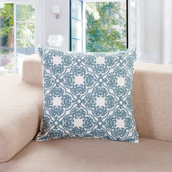 Mabe Embroidered Lattice Cotton Throw Pillow by Three Posts