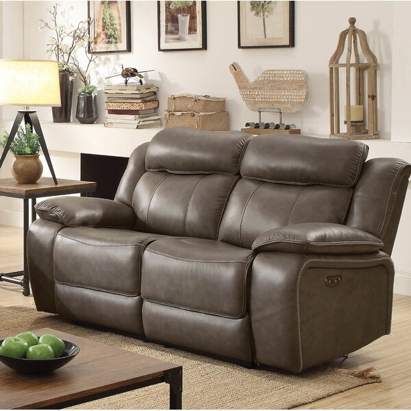 Rangel Leather Reclining Loveseat by Loon Peak