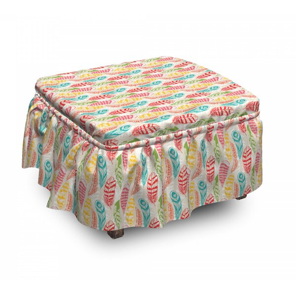Abstract Feathers Ottoman Slipcover (Set Of 2) By East Urban Home