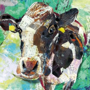 'Art Cow' by Sandy Doonan Graphic Art on Wrapped Canvas in Green by Portfolio Canvas Decor