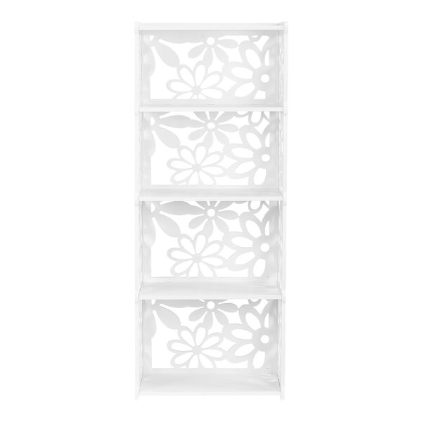Bounds 4-Tier Modular Flower Cut-Out Wood Plastic Composite Standard Bookcase by House of Hampton
