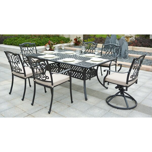 Christena Cast Aluminum 7 Piece Dining Set with Cushions by Darby Home Co