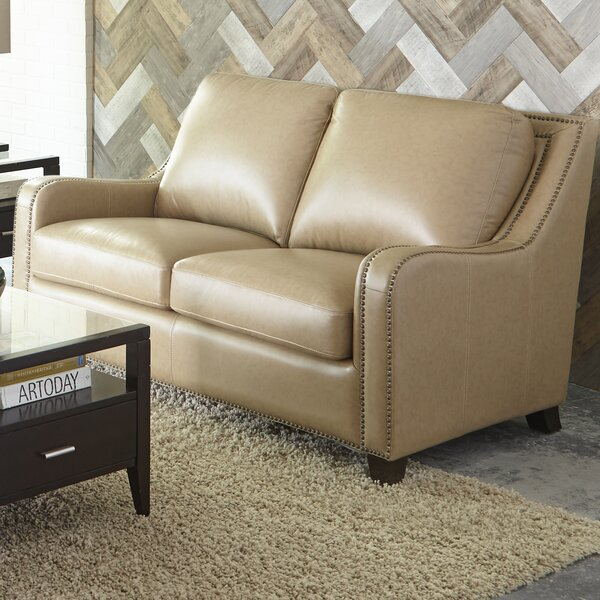 New High-quality Howa Leather Loveseat by Darby Home Co by Darby Home Co