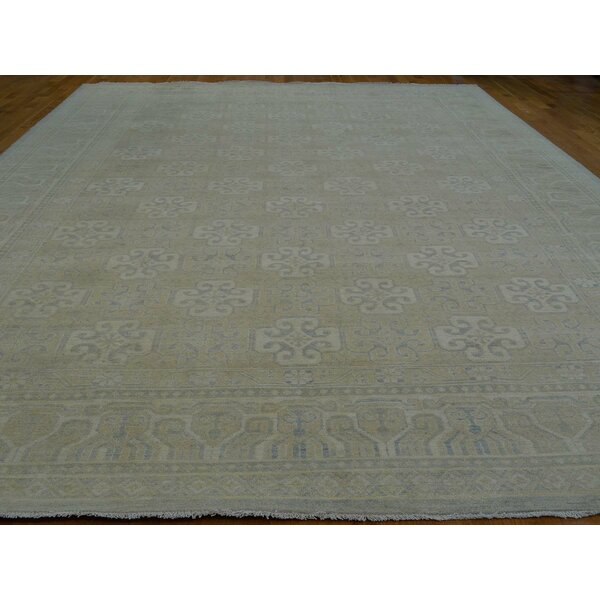 One-of-a-Kind Beauchemin Washed Out Handwoven Beige Wool Area Rug by Isabelline