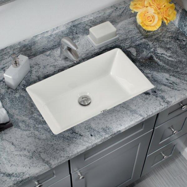 Glazed Vitreous China Rectangular Undermount Bathroom Sink and Overflow by Cahaba